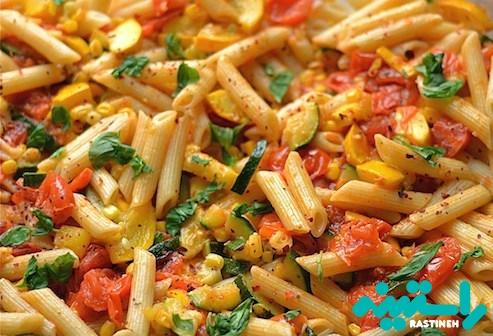 سبزیجات و ماکارونی