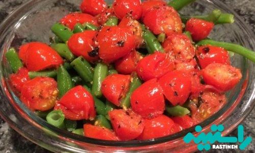 لوبیا سبز و گوجه گیلاسی