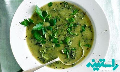سوپ سبز بروکلی و کلم کیل