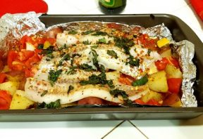 ماهی کبابی به سبک یونانی