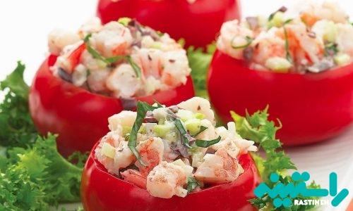 گوجه فرنگیهای پرشده با سالاد میگوگوجه فرنگیهای پرشده با سالاد میگو
