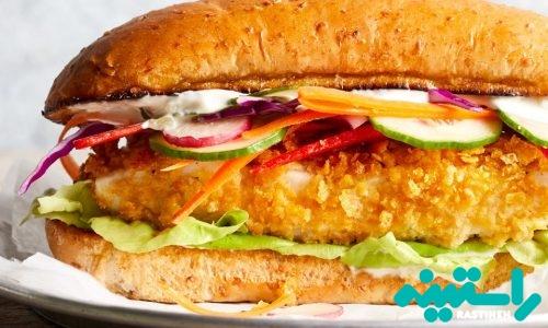 ساندویچ ماهی کاد ترد