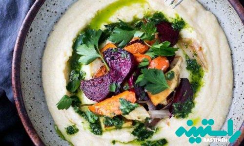 سبزیجات ریشهای کبابی با پولنتای پنیر بُز