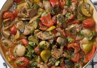سبزیجات مدیترانهای با گوشت بره